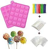 Stampo in silicone senza BPA, a forma di palla con 100 bastoncini per dolcetti+100 sacchetti per pacchetti+100 fili metallici colorati per caramelle, cioccolatini, lecca-lecca, cake pops
