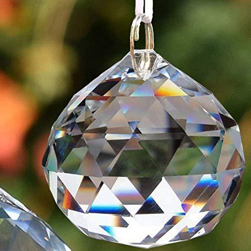 EasyBravo - Prismas de bolas de cristal transparente de 50 mm Feng Shui Suncatcher decoración colgante bolas de prisma facetadas + kit colgante