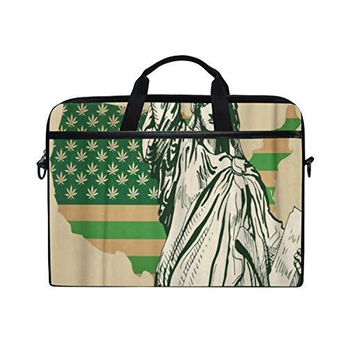 LOSNINA Laptop Tasche 15-15.4 Zoll,Marihuana USA Karte als grüne Flagge mit Hanf Blatt Freiheitsstatue legal,Neue Leinwand Drucken Muster Aktentasche Laptop Schulter Messenger Handtasche Case Sleeve
