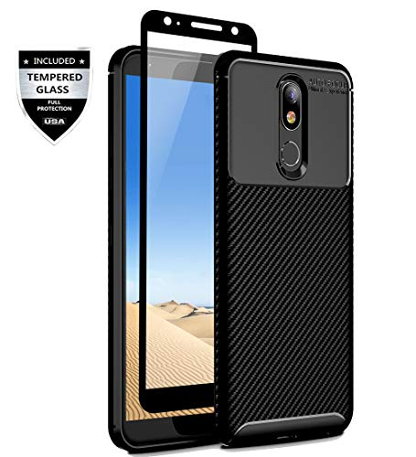 Sunnyw LG K40 Case,LG Solo LTE,LG Xpression Plus 2,LG Harmony 3,LG K12 Plus,LG X4 2019 Case with [Full Tempered Glass Screen Protector], Flexible Shock Absorption Scratch Resistant Case (Black)