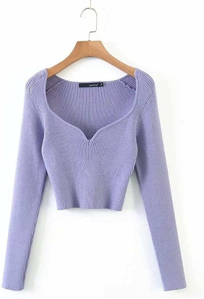 HSHUIJP Sexy Tops for Women Ladies Elegant Sweet Sexy Knitted Short Tops Knitwear Women Long Sleeve V Neck Low Cut Slim Fashion Casual Crop Top T Shirts Women, s Vests (Color : Purple, Size : M)