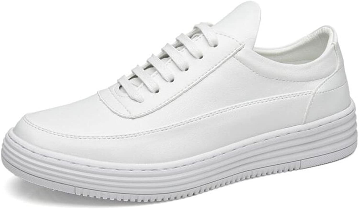 CJC shoes Fashion Men's Casual Business Work Comfy Walking Outdoor Sports Lightweight Breathable Lace-Up Non-Slip (color   White, Size   EU42 UK8.5)