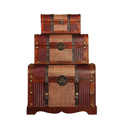 ZzheHou Baúl De Madera De Almacenamiento Decorativo Decorativos Anidación Cajas De Joyería Retro Decoración Caja De Almacenamiento De Madera Cofre del Tesoro Cajas De Recuerdo 3pcs