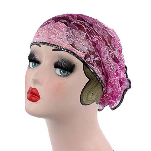 Bigood Foulard Islamique en Dentelle Turban Doux Bonnet Femme Chapeau Hollow-Out Rose
