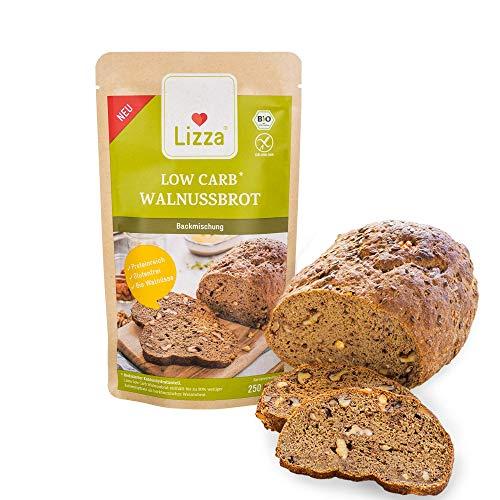 Lizza Low Carb Walnussbrot Backmischung | Bio. Glutenfrei. Vegan. Kohlenhydratarm. Proteinreich. Ballaststoffreich | Geeignet für Vegane, Keto, Diabetes und Low Carb Ernährung | 1x 1kg (für 4 Brote)