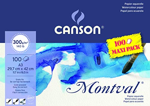 Bloc Encolado, A3, 100 Hojas, Canson Montval Jumbo, Grano Fino 300g