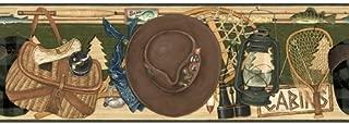 Fishing Items Wallpaper Border - Tackle Box, Rod and Reel…
