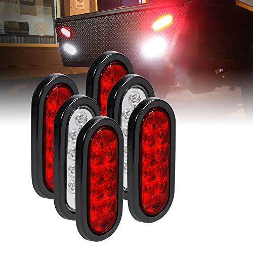 "4 Red + 2 White 6"" Oval LED Trailer Tail Light Kit [DOT FMVSS 108] [Grommets & Plugs Included] [IP67 Waterproof] [Stop Brake Turn Reverse] Back Up Trailer Lights for Marine Boat Trailer RV Truck"