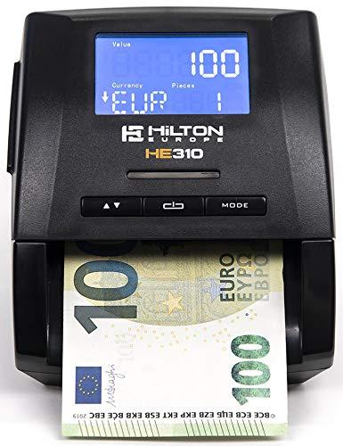 HILTON EUROPE - HE310 Detector Billetes Falsos 7 Sistemas de Detección | Actualizado a los NUEVOS billetes de 100€ y 200€ | 100% Fiable Superando TODO test del Banco Central Europeo | (Con Batería)