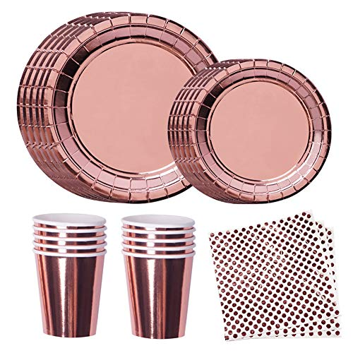 Disposable Plates Rose Gold Party Supplies Paper Plates, Napkins, Cups for Kids Birthday, Graduation, Wedding Etc for 24 Guests