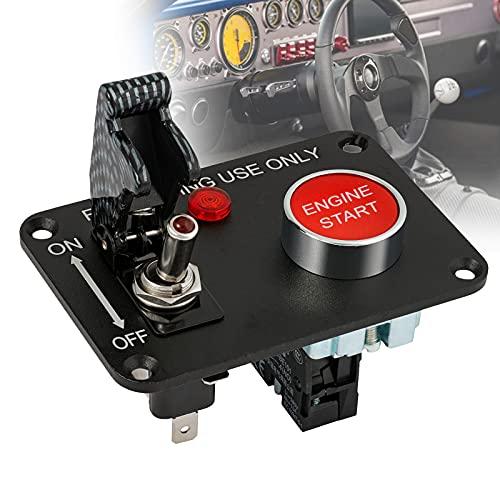 FRIBLSKEL Panel Interruptores Palanca Coche Botón Encendido Carreras con Tapa Luz Indicadora Roja Interruptor Encendido Automático Arranque Dmotor Botón para Modificación Carreras Yates