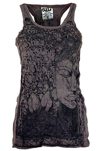Guru-Shop Sure Tank Top Buddha, Damen, Taupe, Baumwolle, Size:L (40), Bedrucktes Shirt Alternative Bekleidung