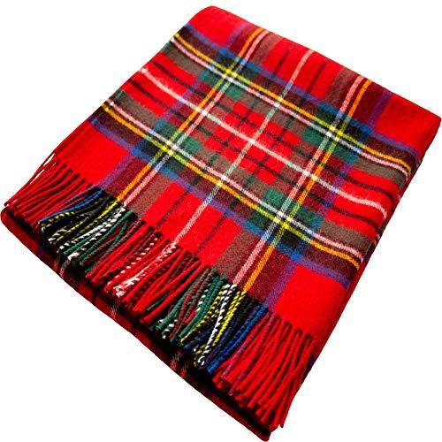 I Luv LTD 100% Lammwolle Karierte Warme und Weiche Decke Werfen Schottisch Tartan Royal Stewart Reisedecke Plaid Picknick Teppich