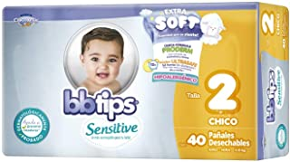 BBtips Sensitive Pañales, Talla Chica/2, 160 Pañales