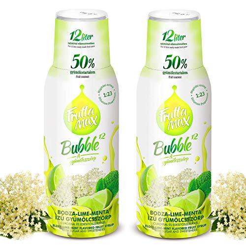 Frutta Max Getränkesirup Frucht-sirup Konzentrat | Holunderblüte-Limette-Minze Geschmack | weniger Zucker | mit 50% Fruchtanteil | für Soda Maschine geeignet 2erPack(2x500ml)