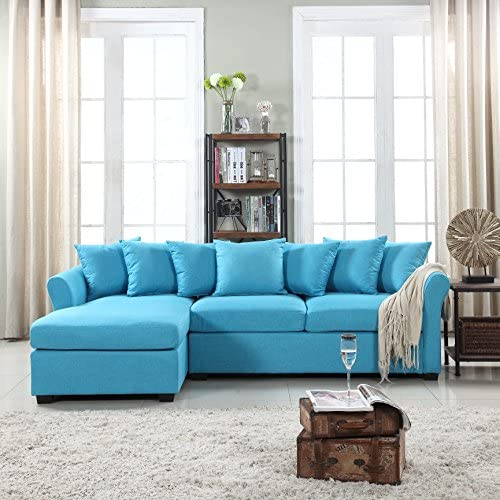Best Divano Roma Furniture Modern Sectional, Large, Sky Blue