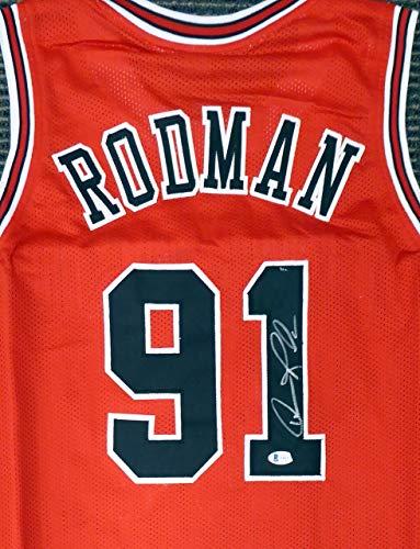 Chicago Bulls Dennis Rodman Autographed Red Jersey Beckett BAS