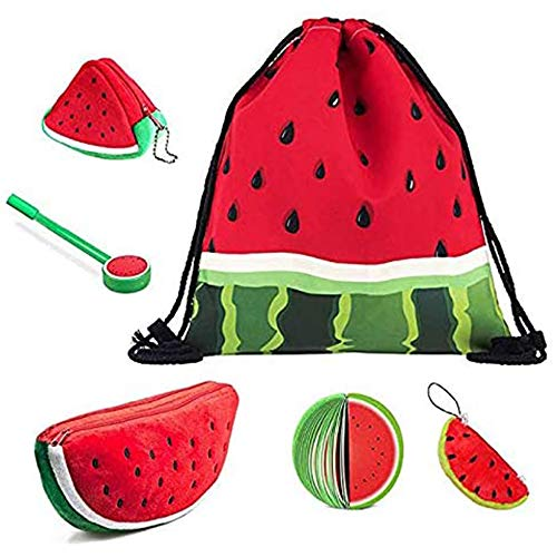 Watermelon Backpack Drawstring Bag, Cute Large Plush Pencil Case Holder, 3D Coin Purse Key Holder Bags, Keychain Pendant Decorations, Fruit Notepads with Pen for Boy Girl Students (Set of 6)