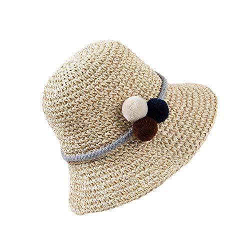 HONGXIN-SHOP Strohhüte Atmungsaktiver Sonnenhüte Strand Kappe Cap Kinder Mädchen Strohhut Sommer Reise Schutz Cap mit Haarball für den Urlaub Reise Outdoor-Aktivitäten, Beige