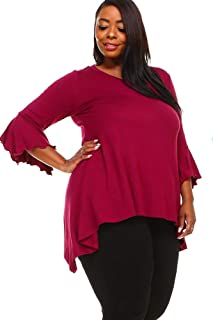 WearOrGoBare Womens Wine Red Plus Size Bell Sleeves Tunic Top