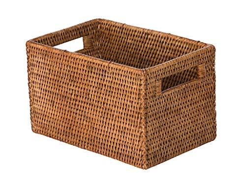 KOUBOO La Jolla Rattan Shelf Handles, Small, Honey-Brown Storage Basket,