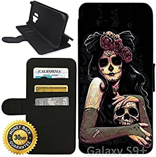 Flip Wallet Case for Galaxy S9 Plus (Dia De Los Muertos Skull Flower) with Adjustable Stand and 3 Card Holders | Shock Protection | Lightweight | Includes Stylus Pen by Innosub