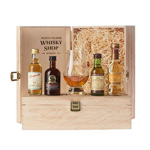 Set Bester Whisky - Gold-prämiert und ausgezeichnet - Glenmorangie The Original, Glenlivet 12, Bunnahabain 12, Glenfarclas 12 und Glencairn Whiskyglas, guter Whisky im Set