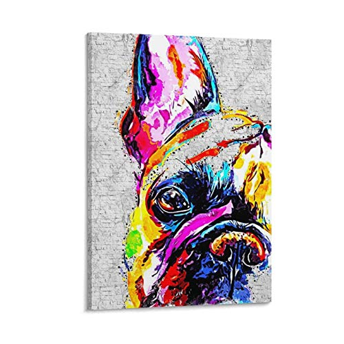 wanghan French Bulldog 2 Canvas Art Poster and Wall Art Picture Print Modern Family Bedroom Decor Posters 24×16inch(60×40cm)