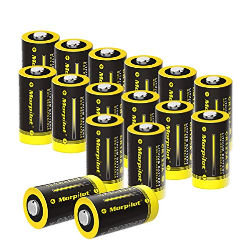 CR123A Lithium Battery, High Capacity 1500mAh 3V CR123 Battery with High Capacity PTC Protection for Flashlight, Camera, Toys, Alarm System (NOT Compatible with Arlo Cameras) (16 Pcs)