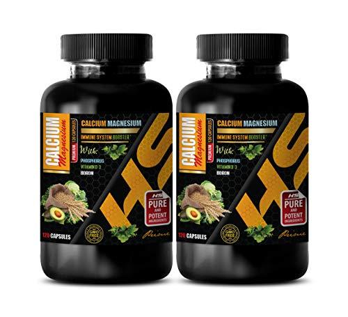Calcium Magnesium Potassium - Premium Calcium Magnesium - Bone Health Vitamins - Energy d - 2 Bottles 240 Capsules