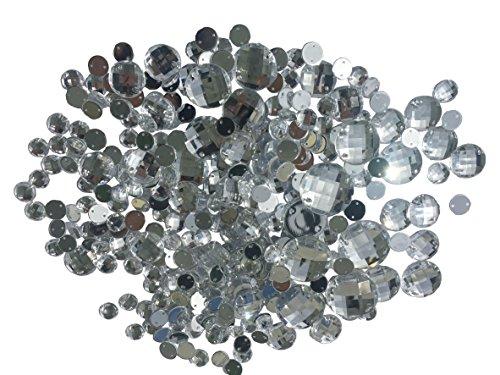 Crystal King Confezione di 340 pietre acriliche rotonde, luccicanti, da cucire/attaccare, strass, per gioielli, per decorare e ornare