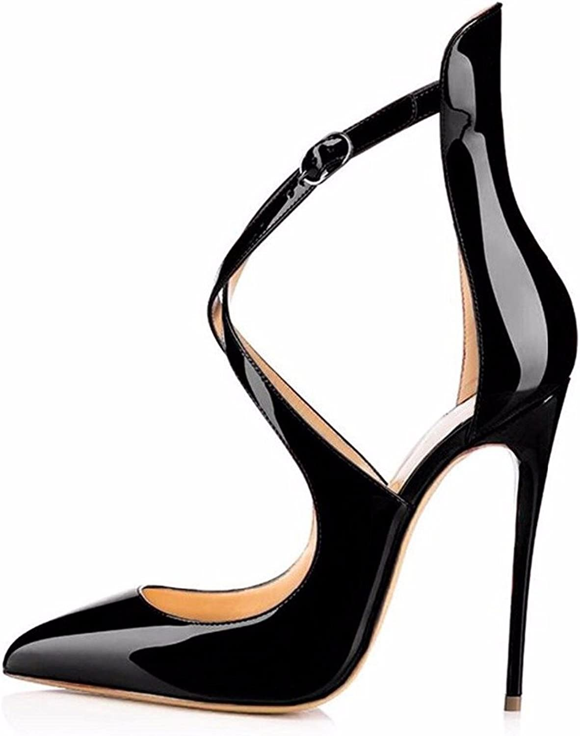 YBeauty Women's Stiletto Heels Criss Strap Sandals-Pointed Toe Ankle Strap Pumps shoes High Heel Sandals