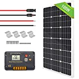 ECO-WORTHY 100 Watt Solar Panel Off Grid RV Boat Kit - 100 Watt Solar Panel+20A LCD Display Charge Controller +Z Brackets