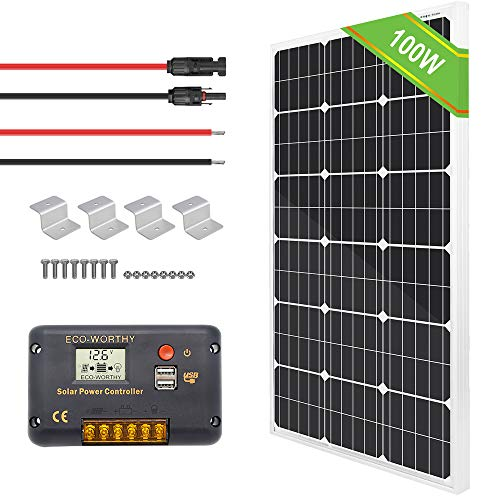 ECO-WORTHY 100 Watt Solar Panel Off Grid RV Boat Kit - 100 Watt Solar Panel+20A LCD Display Charge Controller +Solar Cable +Z Brackets