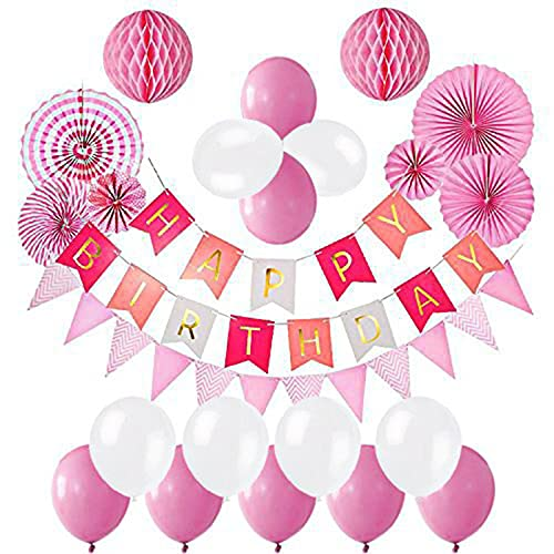 Aimili Decoración de cumpleaños para fiestas de cumpleaños para niñas y jóvenes, guirnalda con globos de látex y bolas de papel rosa.