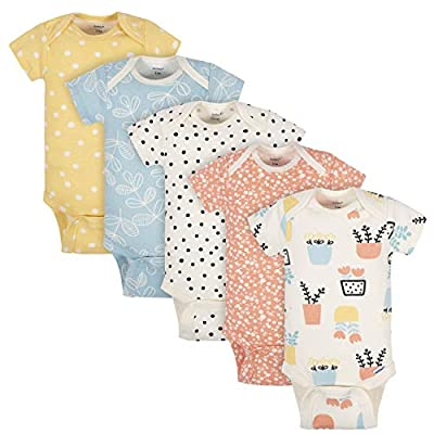 Grow by Gerber Baby Girls Organic 5-Pack Short-Sleeve Onesies Bodysuits, Orange/Yellow/Green/Ivory, 0-3 Months by Grow by Gerber