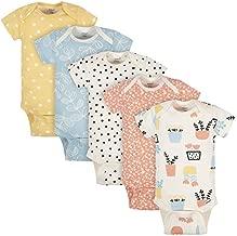 Grow by Gerber Baby Girls Organic 5-Pack Short-Sleeve Onesies Bodysuits, Orange/Yellow/Green/Ivory, 6-9 Months