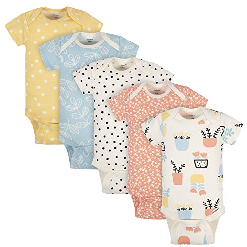Grow by Gerber Baby Girls Organic 5-Pack Short-Sleeve Onesies Bodysuits, Orange/Yellow/Green/Ivory, 0-3 Months