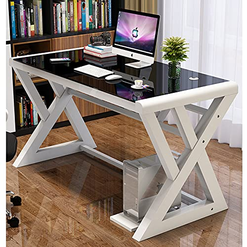 SAMERY Computer Desk, Modern Simple Office Desk Computer Table Study Gaming Writing Desk for Home Office, Glass Top/Metal Frame, Black (39.3, X-Shaped- White)