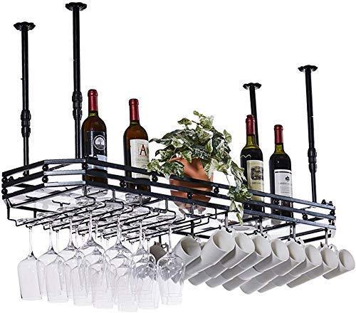 Wijnliefhebbers Bar meubelen & Wall Mounted Wijnrek met Glazen Houder/Metalen Plafond Opknoping Wijnglazen Rek / Moderne Wijnfles Houder voor Keuken Wandplank (Zwart) (Maat: 150cm ;35cm)