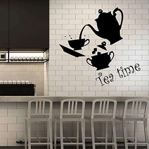 sanzangtang Teezeit Wandtattoo Küche Innendekoration Set Tasse und Teekanne Kunst Vinyl Wandbild,
