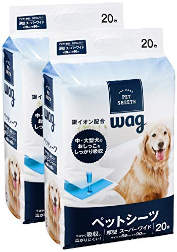 [Amazon Brand] Wag Pet Sheets Thick Super Wide 20 Sheets x 2 Bags (40 Sheets)