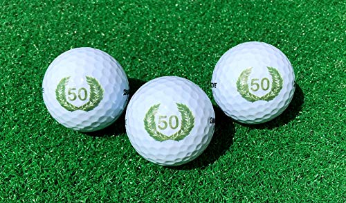LL-Golf ® 3er Set 50er Geburtstags Golfbälle mit Happy Birthday Motiv in Geschenkbox/Golf Geburtstagsgeschenk/Golfgeschenk