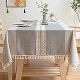 Mantel de Rayas Rectangular, Mantel de Lino y Algodón Marrón Impermeable con Colgante 140x200cm Color 1