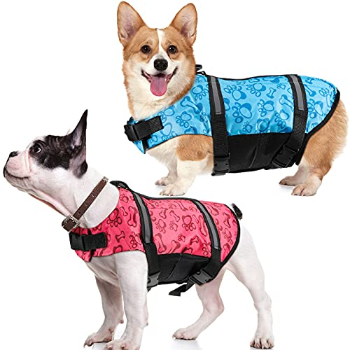 Gulfmew 2 Pieces Dog Life Jackets with Grab Handle Adjustable Dog Lifesaver Vest Doggy Safety Suit Pet Lifesaver with Reflective Straps Pet Swimming Safety Swimsuit for Dogs Pets Swimming, Medium