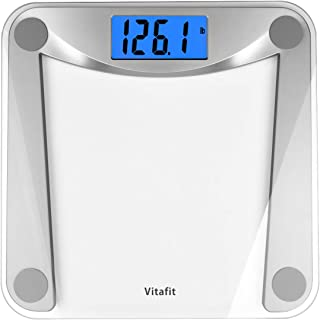 Vitafit Digital Body Weight Bathroom Scale Weighing Scale with Step-On Technology,Extra Large Blue Backlit Display and Bat...