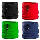 Natuiahan Pack 4 Bragas para el Cuello y la Cabeza. Bandanas Unisex, Multifuncionales y Extra Suaves. Con Cierre de Cordón para Ajuste. Colores: Azul Marino, Negro, Rojo y Verde.