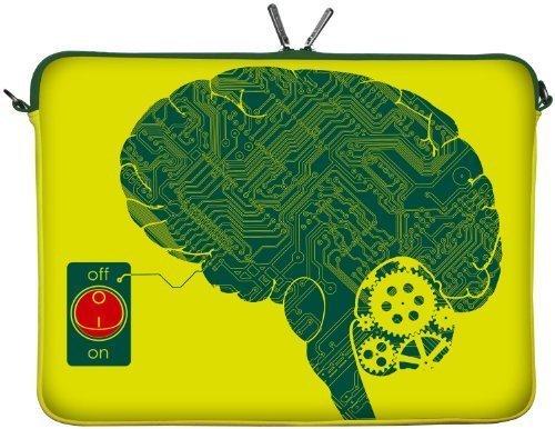 Digittrade LS166-17 IT-Brain Designer Laptop Tasche 17 Zoll Notebook Sleeve Hülle Schutzhülle Neopren bis 43,9 cm (17,3 Zoll) Bag Case Gehirn gelb-grün