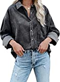Actloe Womens Corduroy Shirts Long Sleeve Button Down Blouses Top Oversized Jacket with Pockets Medium Gray