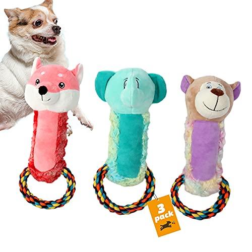 Dog Squeak Toys, Fetch Plush Toys for Puppy,Dog Toys Pack, Dog Plush Toys, Pet Toys, Stuffing Squeaky Plush Dog Toy, Rope Dog Toys, Chew Toys Plush Toys, 3 Pack Cute Pet Toys, Fox, Elephant, Bear
